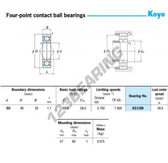 6210BI-KOYO - 50x90x20 mm