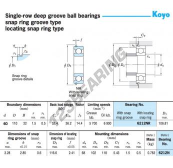 6212-NR-KOYO - 60x116.6x22 mm