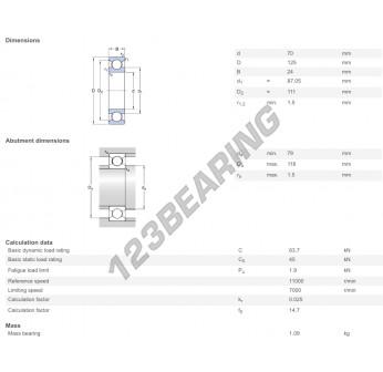 6214-C4-SKF - 70x125x24 mm
