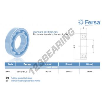 6216-2RS-C3-ASFERSA - 80x140x26 mm
