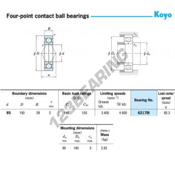 6217BI-KOYO - 85x150x28 mm