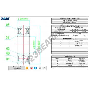62212-2RS-ZEN - 60x110x28 mm