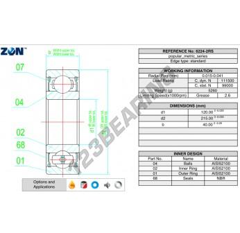 6224-2RS-ZEN - 120x215x40 mm