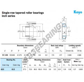 623-612-KOYO - 57.15x120.65x41.65 mm
