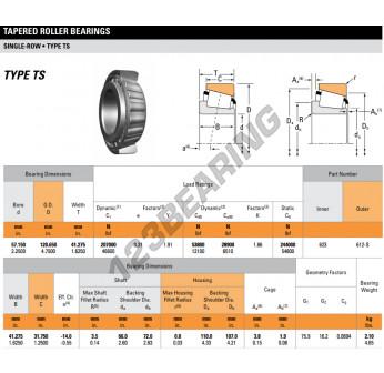 623-612S-TIMKEN - 57.15x120.65x41.28 mm