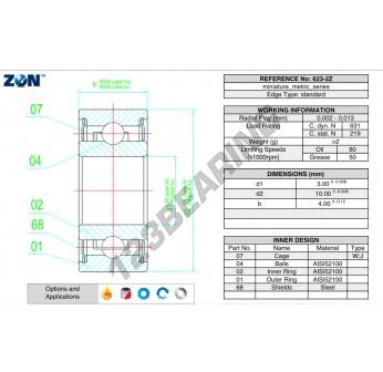 623-ZZ-ZEN - 3x10x4 mm