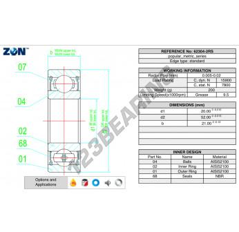 62304-2RS-ZEN - 20x52x21 mm