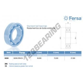 62306-2RS-C3-ASFERSA - 30x72x27 mm