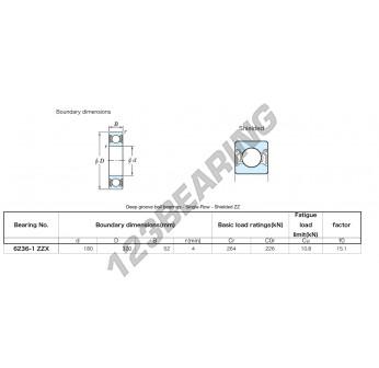 6236-1-ZZX-KOYO - 180x320x52 mm