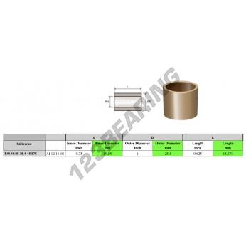 BAI19.05-25.4-15.875 - 19.05x25.4x15.88 mm