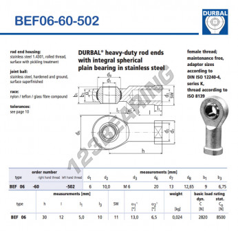 BEF06-60-502-DURBAL - 6x20x9 mm
