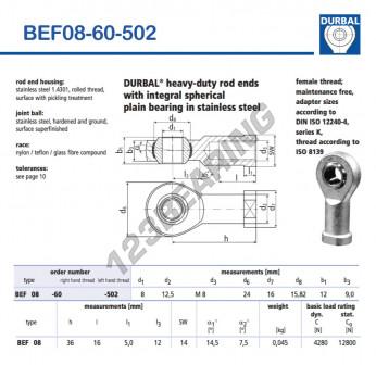 BEF08-60-502-DURBAL - 8x24x12 mm