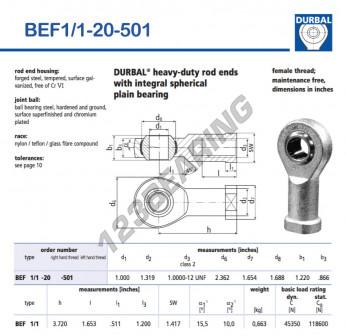 BEF1-1-20-501-DURBAL - 25.4x59.99x30.99 mm