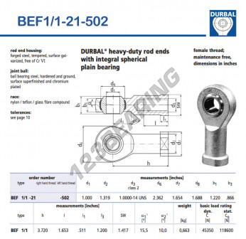 BEF1-1-21-502-DURBAL - 25.4x59.99x30.99 mm