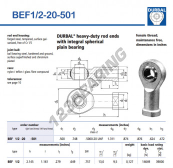 BEF1-2-20-501-DURBAL - 12.7x33.3x15.85 mm