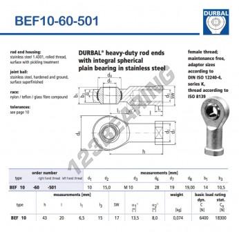 BEF10-60-501-DURBAL - 10x28x14 mm