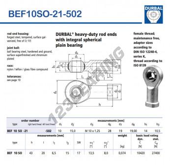 BEF10SO-21-502-DURBAL - 10x28x14 mm