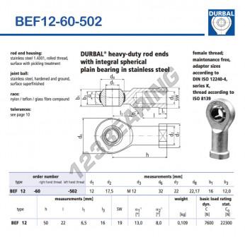 BEF12-60-502-DURBAL - 12x32x16 mm