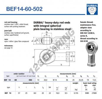 BEF14-60-502-DURBAL - 14x36x19 mm