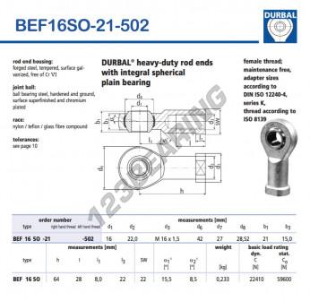 BEF16SO-21-502-DURBAL - 16x42x21 mm