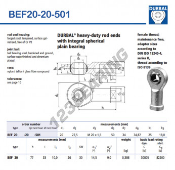 BEF20-20-501-DURBAL - 20x50x25 mm