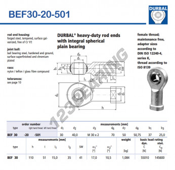 BEF30-20-501-DURBAL - 30x70x37 mm