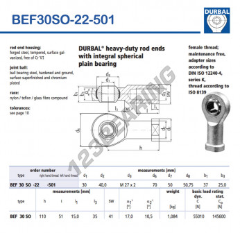 BEF30SO-22-501-DURBAL - 30x70x37 mm