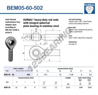 BEM05-60-502-DURBAL - x5 mm