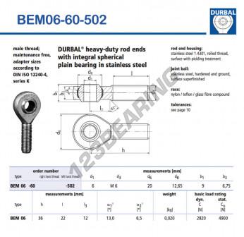 BEM06-60-502-DURBAL - x6 mm