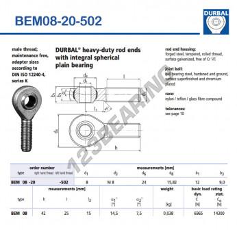 BEM08-20-502-DURBAL - x8 mm