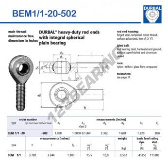 BEM1-1-20-502-DURBAL - x25.4 mm