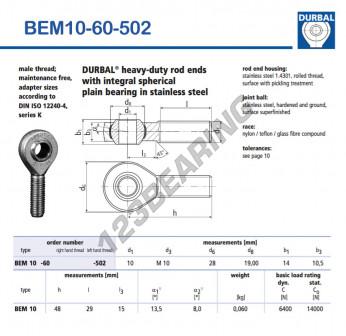 BEM10-60-502-DURBAL - x10 mm