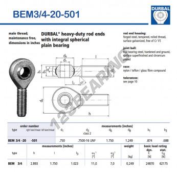 BEM3-4-20-501-DURBAL - x19.05 mm