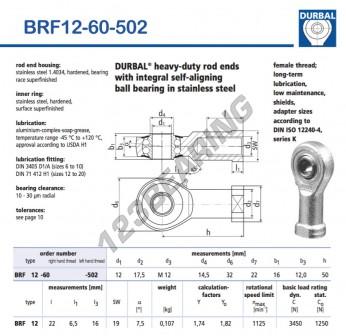 BRF12-60-502-DURBAL - 12x32x16 mm