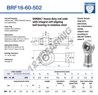 BRF16-60-502-DURBAL - 16x42x21 mm
