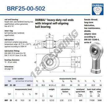 BRF25-00-502-DURBAL - 25x64x31 mm