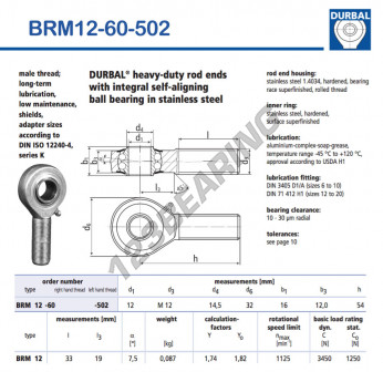 BRM12-60-502-DURBAL - x12 mm