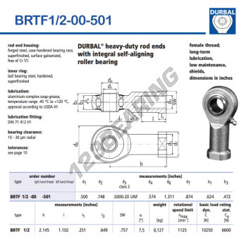 BRTF1-2-00-501-DURBAL - 12.7x33.3x15.85 mm