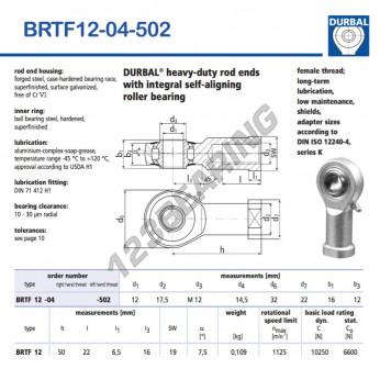 BRTF12-04-502-DURBAL - 12x32x16 mm