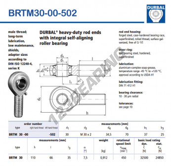 BRTM30-00-502-DURBAL - x30 mm
