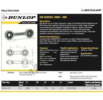 DB-SA-175-DUNLOP - 10x50x14 mm