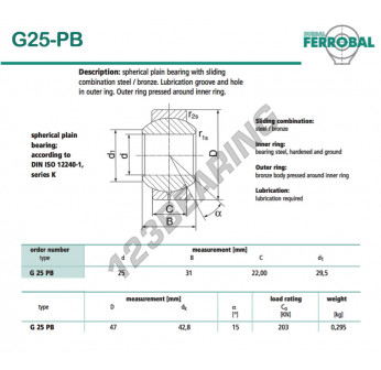 DG25-PB-DURBAL - 25x47x22 mm