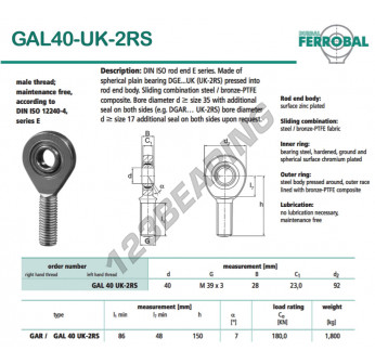 DGAL40-UK-2RS-DURBAL