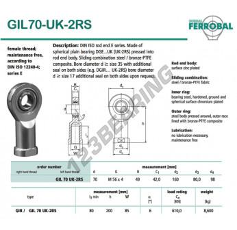 GIL70-UK-2RS-DURBAL