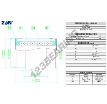 LM16-UU-ZEN - 16x28x37 mm